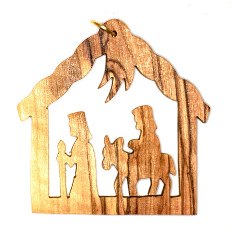 Olive Wood Christmas Decoration - JOSEPH AND MARY (C)