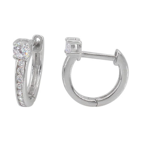 Sterling Silver Huggies with solitaire stone