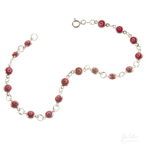 Delicate Evil Eye Bracelet - Red
