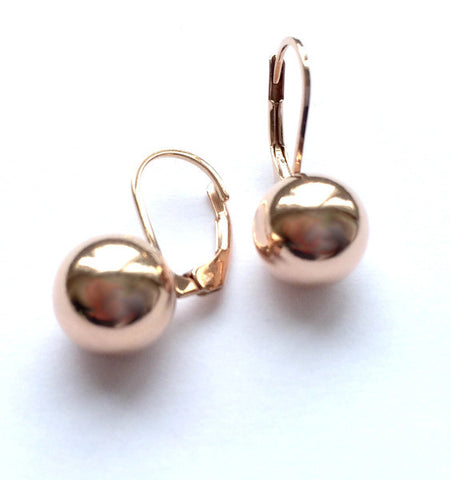 10mm Rose Gold Ball Hoops