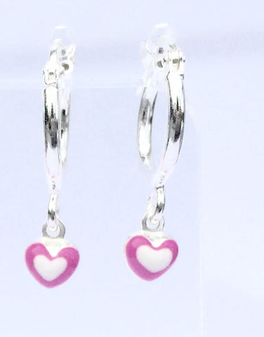 Drop Pink Heart Sterling Silver Hoop Earrings