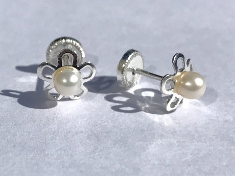 Sterling Silver Screw Back Earrings - Flower with Pearl