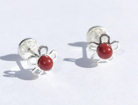 Sterling Silver Screw Back Earrings - Flower with Red Coloured Stone