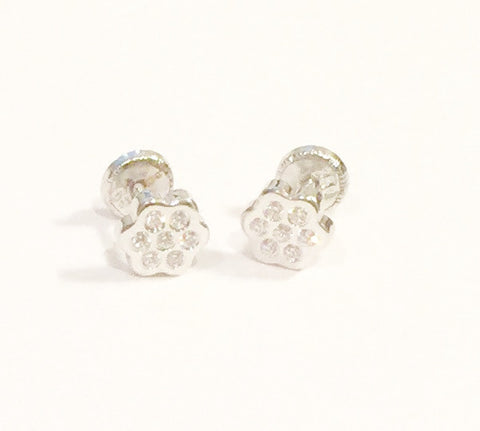 18K White Gold Screw Back Earrings - Glitter Flower