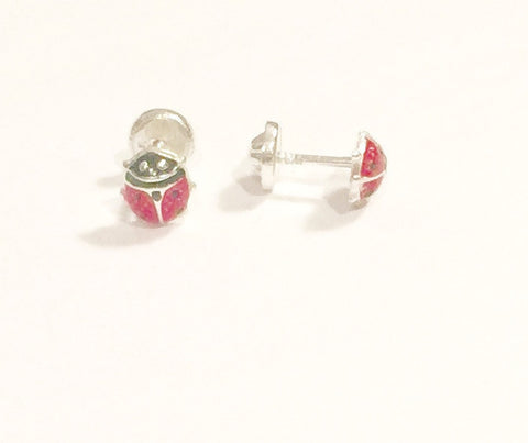 Sterling Silver Screw Back Earrings - Red Ladybug