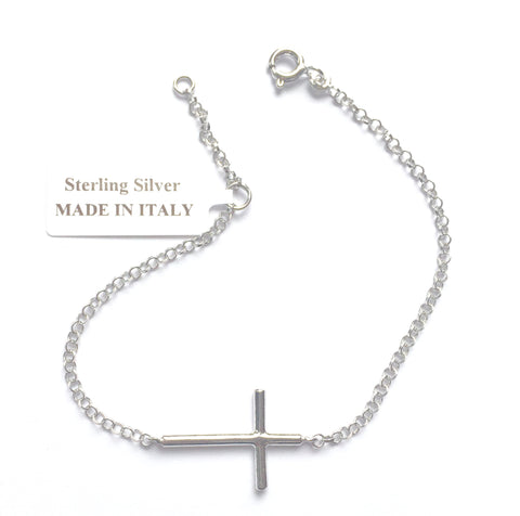 Piccolo Sterling Silver Cross Bracelet