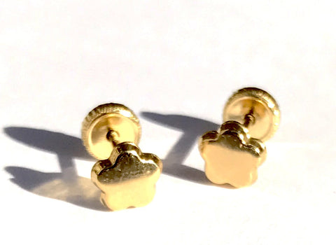 18K Gold Flower Screw Back Earrings