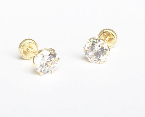 18K Yellow Gold Screw Back Earrings - Large Cubic Stud
