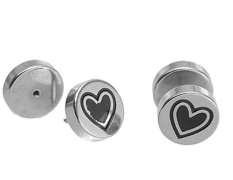 Stainless Steel Studs - Heart Engraved