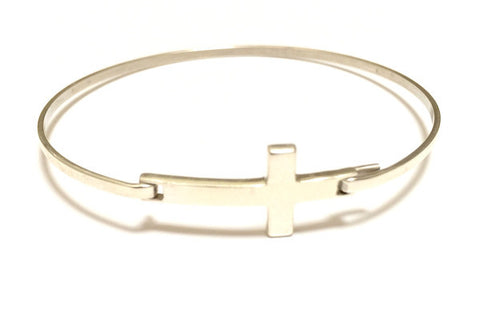 Sterling Silver Cross Bangle