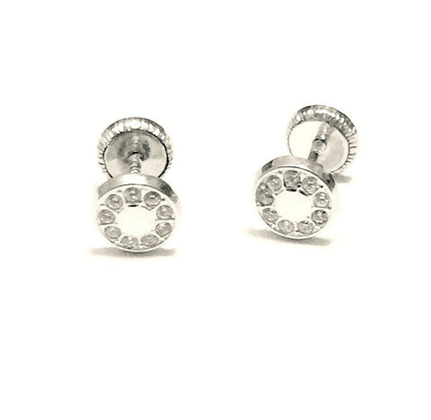 18K White Gold Screw Back Earrings - Circle of Stars