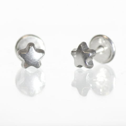 Sterling Silver Screw Back Earrings - Star