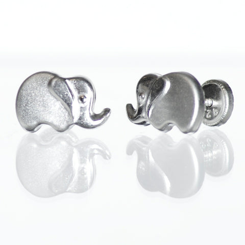 Sterling Silver Screw Back Earrings - Elephant