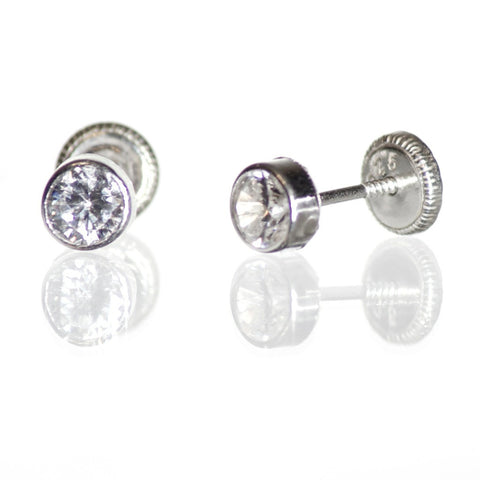 Sterling Silver Screw Back Earrings - Round Cubic