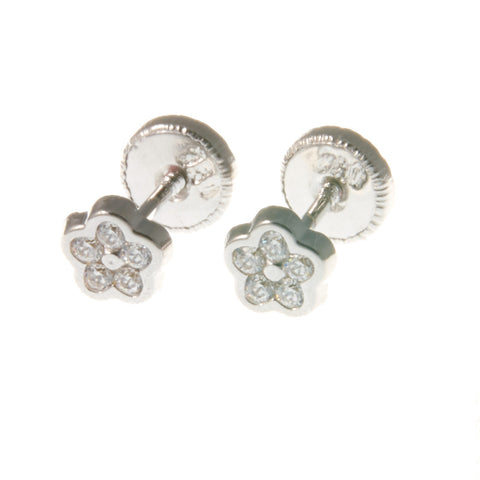 18K White Gold Screw Back Earrings - Small Glitter Flower