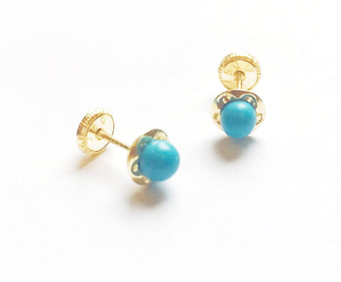 5mm 18K Gold - Turquoise Color Stud - Screw Back Earrings