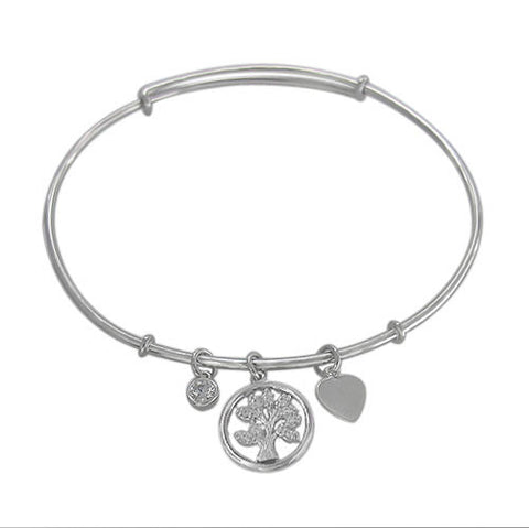 Adjustable Tree of Life Charm Sterling Silver Bracelet