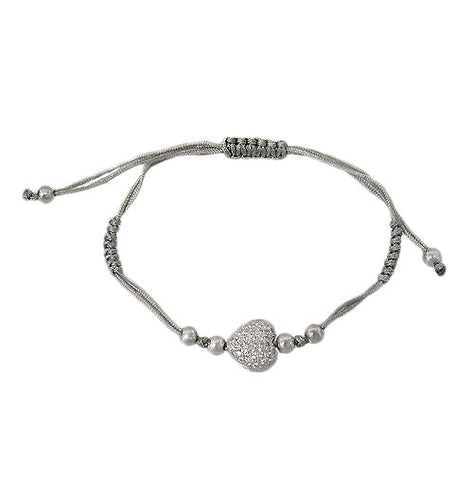 Grey Heart Adjustable Bracelet