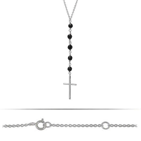Sterling Silver Cross Necklace with Black Onyx