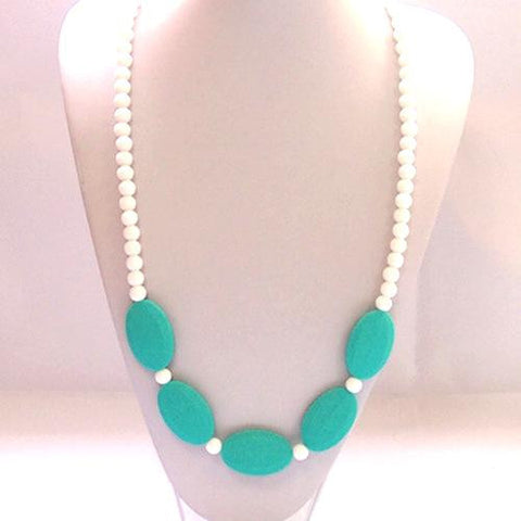 Teething Necklace - White and Turquoise