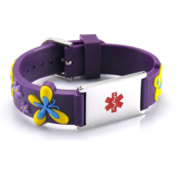 Medical Alert Id Purple Silicone Bracelet Mimosura