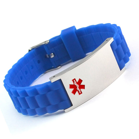 Medical Alert ID - Blue Silicone Bracelet