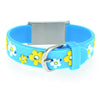Medical Alert ID - Blue Flowers Silicone Bracelet