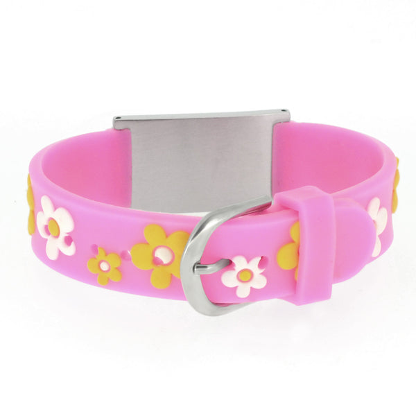Medical Alert Id Pink Flowers Silicone Bracelet