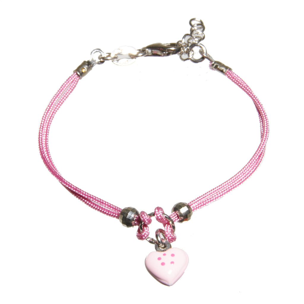 pink heart dogeared bracelet friendship in small silver open sterling