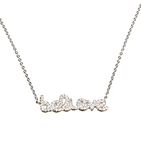 """Believe"" Sterling Silver Necklace"