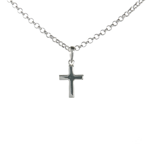 Sterling Silver Small Latin Cross Necklace Set