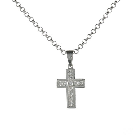 Sterling Silver Sparkle Latin Cross Necklace Set