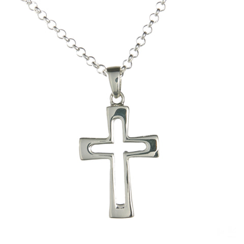 Sterling Silver Hollow Latin Cross Necklace Set
