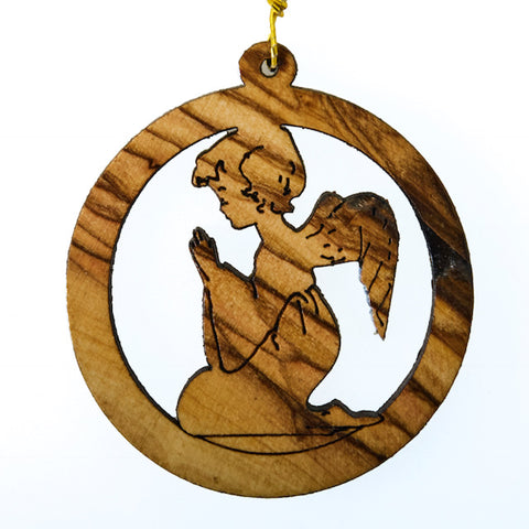 Olive Wood Christmas Decoration - Praying Angel (K)