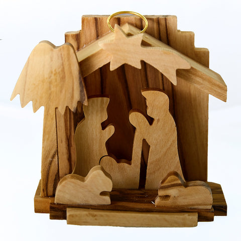Olive Wood Christmas Decoration - 3D Manger  (L)