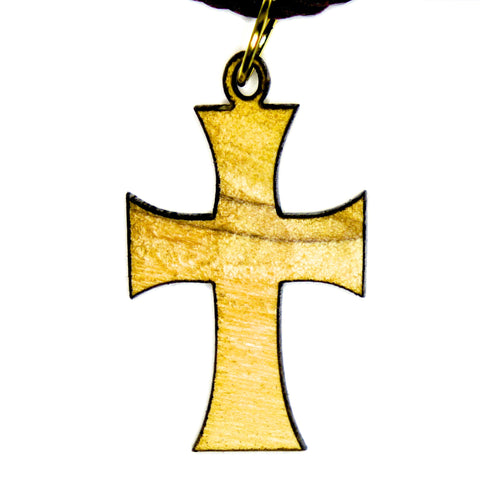 Olive Wood Cross Pendant - Byzantine Cross