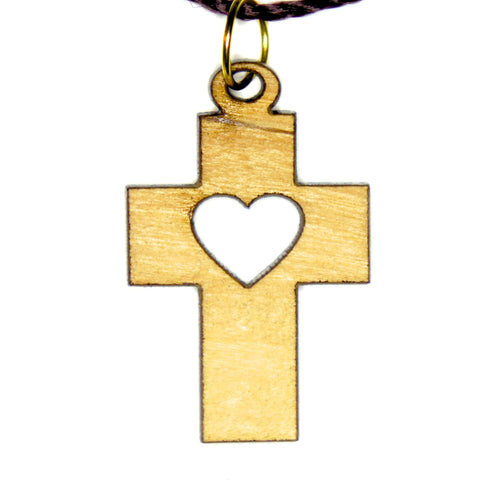 Olive Wood Cross Pendant - Heart Cross