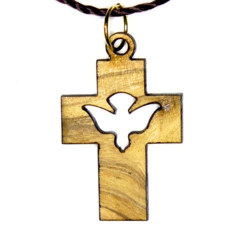 Olive Wood Cross Pendant - Dove Cross
