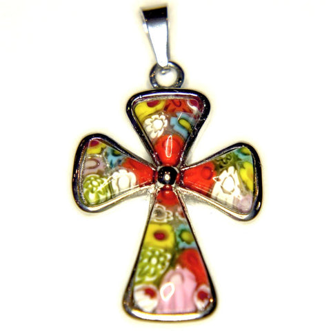 Orange Murano Glass Cross (pendant only)