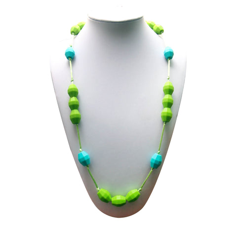 Teething Necklace - Funky Green and Teal Beads