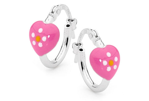 PICCOLO Pink Heart Sterling Silver Hoop Earrings