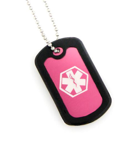Medical Alert ID - Pink Dog Tag