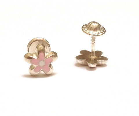 Sterling Silver Screw Back Earrings - Pink Flower
