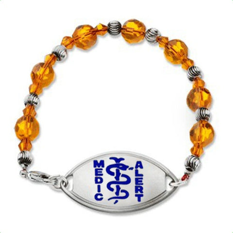 Medical Alert ID - Amber Colored Crystal Bracelet