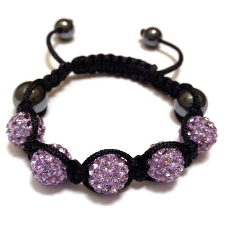 Baby Shamballa Bracelet - Black with Purple