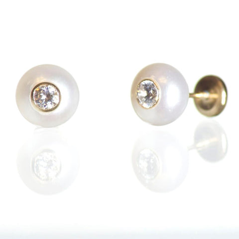 6mm 18K Gold Pearl Screw Back Earrings