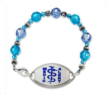 Medical Alert ID - Blue Crystal Bracelet