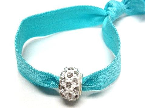 Elastic Bracelet - Blue with White