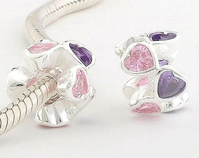 Pendant - Pink and Purple Sparkle Hearts