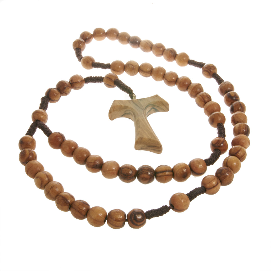 Olive wood necklace tau cross mimosura jewellery for kids olive wood necklace tau cross mozeypictures Image collections